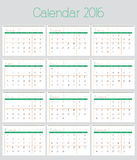Poster Calendar for 2016, Simple Vector Template Stock Image
