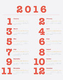 Poster Calendar for 2016, Simple Vector Template. Vector Design Print Template, Set of 12 months Royalty Free Stock Image