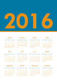Poster Calendar for 2016. Week Starts Monday. Simple Vector Template Stock Photography