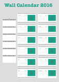 Poster Calendar for 2016. Week Starts Monday. Simple Vector Template, Vector Design Print Template with Place for Photo. Set of 12 Months Stock Photography