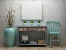Poster Canvas Mockup with vintage turquoise interior. Vintage interior with blank poster mockup royalty free illustration