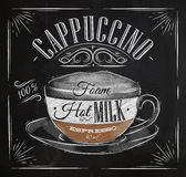 Poster cappuccino chalk. Poster coffee cappuccino in vintage style drawing with chalk on the blackboard Royalty Free Stock Photography