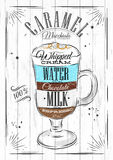 Poster caramel macchiato. Poster coffee caramel macchiato in vintage style drawing on wood background Royalty Free Stock Photos