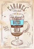 Poster caramel macchiato kraft. Poster coffee caramel macchiato in vintage style drawing on kraft Stock Photography