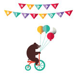 Poster or card for birthday. Decoration like ribbon, confetti, Stock Images