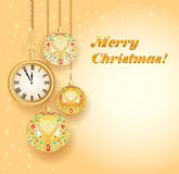 Poster card festive Christmas with balls and gold. Illustration poster card festive Christmas with balls and gold clock Stock Photography