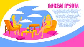 Poster card site woman feminism drinking  hen-party flat design colorful chair sitting wine sky pillow dress article royalty free illustration