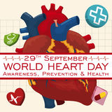 Poster with Cardiogram Design to Celebrate World Heart Day, Vector Illustration Royalty Free Stock Photos