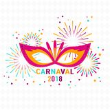 Poster Carnival with masquerade masks isolated on white backgrou. Nd with rhombuses. Fireworks, stars. Vector illustration Stock Images