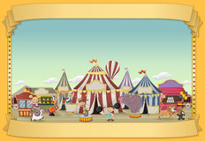 Poster with cartoon characters and animals in front of retro circus. Stock Photography