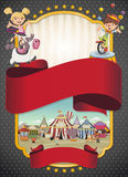 Poster with cartoon characters and animals in front of retro circus. Stock Photo