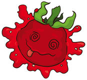 Dizzy Cartoon Tomato Smashed in the Ground, Vector Illustration. Poster with a cartoon dizzy tomato character smashed over white background with the tongue out Stock Images