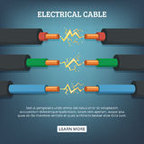 Poster with cartoon illustration of electrical cable wires with different amperage. Vector background concept. Connection electric power cable royalty free illustration