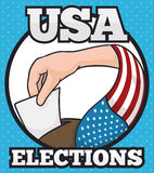 Poster in Cartoon Style with Citizen Voting in U.S.A. Elections, Vector Illustration Stock Photography