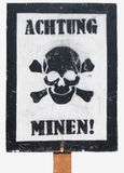 Poster - Caution, mines in German Stock Photo