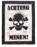 Poster - Caution, mines in German Royalty Free Stock Photo