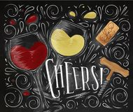 Poster cheers black. Wine poster lettering cheers with illustrated glass, cork, corkscrew and design elements drawing in vintage style on black background Stock Images