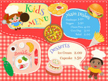 The poster child for menu cafe with illustrations of main dishes Stock Image