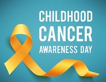Childhood cancer day. Poster for childhood cancer awareness day with symbol realistic yellow ribbon, vector illustration Stock Image
