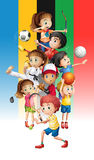 Poster of children doing different sports Royalty Free Stock Photos