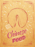 Poster Chinese food fortune cookies kraft. Poster chinese food in retro style lettering fortune cookies stylized drawing in kraft Stock Image