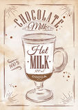 Poster chocolate milk kraft Stock Image