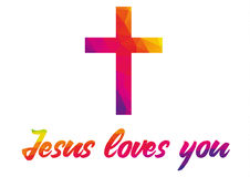 Poster with christian cross and saying Jesus loves you made of r Royalty Free Stock Photography
