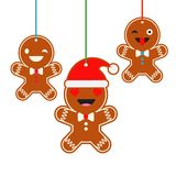 Poster Christmas Gingerbread on a white background. Christmas gingerman. Cute cartoon Gingerbread. Poster Christmas Gingerbread on a white background. Christmas Royalty Free Stock Images