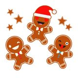 Poster Christmas Gingerbread on a white background. Christmas gingerman. Cute cartoon Gingerbread. Poster Christmas Gingerbread on a white background. Christmas Royalty Free Stock Photos