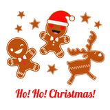 Poster Christmas Gingerbread on a white background. Christmas gingerman. Cute cartoon Gingerbread. Poster Christmas Gingerbread on a white background. Christmas Royalty Free Stock Photography