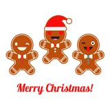 Poster Christmas Gingerbread on a white background. Christmas gingerman. Cute cartoon Gingerbread. Poster Christmas Gingerbread on a white background. Christmas Stock Photo