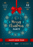 Poster Christmas and Happy New Year, Holiday party, Elegant placard. Poster Merry Christmas and Happy New Year, Holiday party. Elegant turquoise Christmas Royalty Free Stock Photography