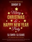 Poster for the Christmas and New Year party. Invitation card. Red background. The text is made of gold glitters. Glare bokeh. The. Names of the DJ and club stock illustration