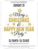 Poster for Christmas and New Year party. Invitation card. The text is made of gold glitters. White background. The names of the DJ. And club. Gold stars. Vector Stock Photos