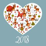 2018 poster for Christmas or New Year winter holiday. Vector deer or reindeer cartoon character in Santa hat with Xmas tree decorations celebrating with gifts Royalty Free Stock Photo