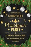 Poster for a Christmas party. Fir tree and snow berries on a black background. Celebratory background. Falling snow. Christmas bal. Ls and gold stars. Golden Royalty Free Stock Images