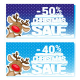 Poster Christmas sale with funny Santa's Deer and text from big letters on snow. Cartoon style. Vector illustration Stock Images