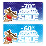 Poster Christmas sale with funny Santa's Deer and text from big letters on snow. Cartoon style. Vector illustration Royalty Free Stock Image