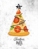 Poster christmas tree pizza Stock Illustration