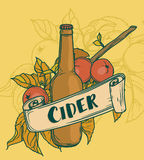 Poster for cider season with beautiful branch of apple tree and bottle of cider Stock Images