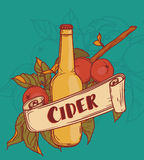 Poster for cider season with beautiful branch of apple tree and bottle of cider Royalty Free Stock Photos