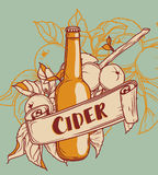 Poster for cider season with beautiful branch of apple tree and bottle of cider Stock Photo