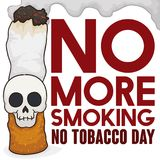 Smoking Cigarette with Skull and Sign Promoting No Tobacco Day, Vector Illustration. Poster with cigarette and smiling skull attached to it  with smoke cloud and Stock Photography