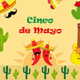 Poster for Cinco de Mayo holiday. Poster for Cinco de Mayo with two chilli peppers, guitar, sombrero and cacti Royalty Free Stock Photos