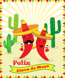 Poster for Cinco de Mayo with two chilli peppers, guitar, sombrero and cacti. Poster for Cinco de Mayo holiday with two chilli peppers, guitar, sombrero and Stock Image