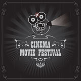 Poster for cinema movie festival with old camera. Vector cinema movie festival poster with old fashioned movie camera in retro style. Can used for banner, poster Royalty Free Stock Photography