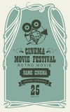 Poster for cinema movie festival with old camera. Vector cinema movie festival poster with old fashioned movie camera in retro style. Can used for banner, poster Stock Photography