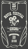 Poster for cinema movie festival with old camera. Vector cinema movie festival poster with old fashioned movie camera in retro style. Can used for banner, poster Stock Photo