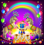 Poster for a circus performance. Merry clown on arena with trained animals. Stock Images