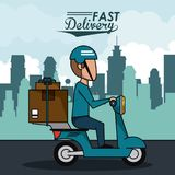 Poster city landscape with fast delivery man scooter with packages. Vector illustration Royalty Free Stock Images